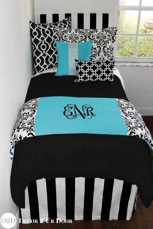 Every girl loves that little blue box. Tiffany blue has always been a D2D fave. Tiffany blue teen girl bedding set mixed with damask and bold patterns in white + black touches. This Tiffany inspired teen girl bedroom sure does dazzle - just as their jewel