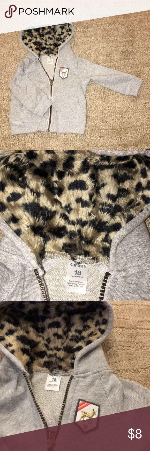 Adorable girls hoodie w/animal print faux fur hood Adorable girls hoodie w/animal print faux fur hood. Cute deer patch, zip up. Great condition Carter's Shirts & Tops Sweatshirts & Hoodies