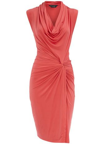 Coral twist knot cowl dress by Dorothy Perkins- possible wedding guest dress