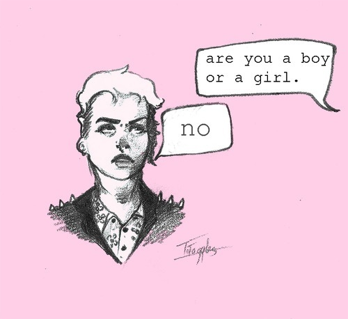 """Are you a boy or a girl?""  ""No.""  [click on this image to find a short documentary and analysis one can draw on in order to disrupt and challenge the gender binary]  Source: http://tonytoggles.tumblr.com/post/48203145317/fuck-the-gender-binary"