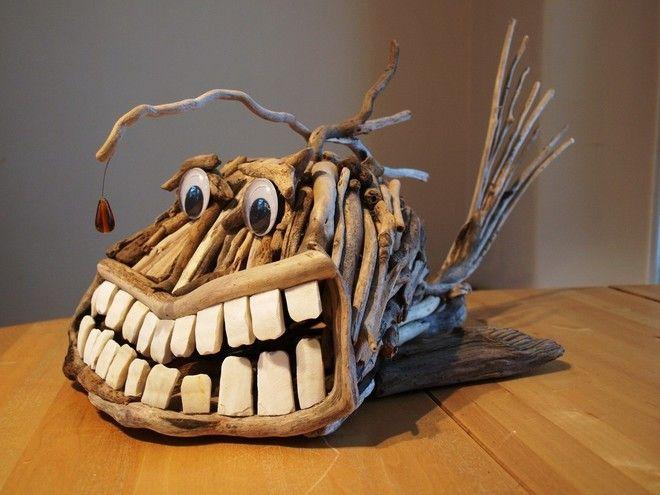 Funny driftwood fish