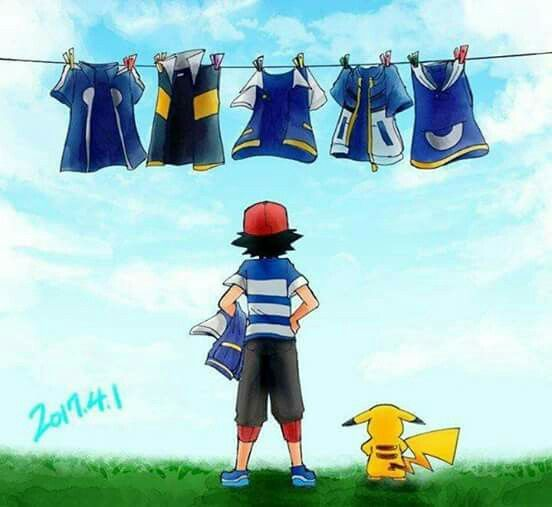 Ash and his short sleeved jumpers from every generation