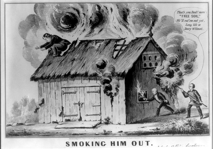 1848 cartoon satirizing the Barnburners / Free Soil Party, referencing the Wilmot Proviso-The Barnburners and Hunkers were the names of two opposing factions of the New York state Democratic Party in the mid-19th century. The main issue dividing the two factions was that of slavery, with the Barnburners being the anti-slavery faction. While this division occurred within the context of New York politics