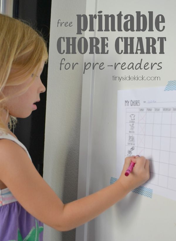 Free Printable Chore Chart for Preschoolers with pictures so they can read it!