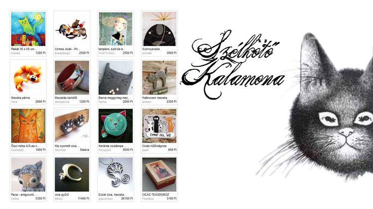 Szélkötő Kalamona - Vanillinum szemezgetője, Illusztráció: Evicke - Sok fekete macska zsebes fali tároló  http://www.meska.hu/ProductView/index/385432  #cat