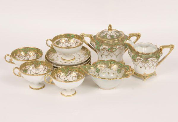 Hand Painted Nippon Tea Set 13pc Gilt Decoration Nippon Collection Antique