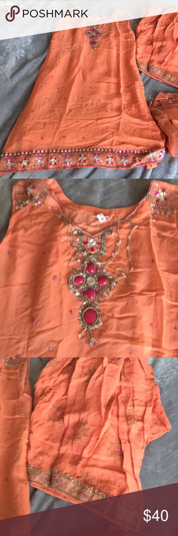 Indian Bollywood suit Beautiful coral suit bust 38 Other