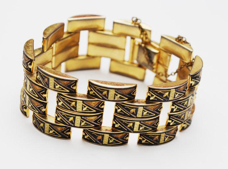 Wide Damascene Link bracelet - 4 rows of gold black enameling links - Safety chain
