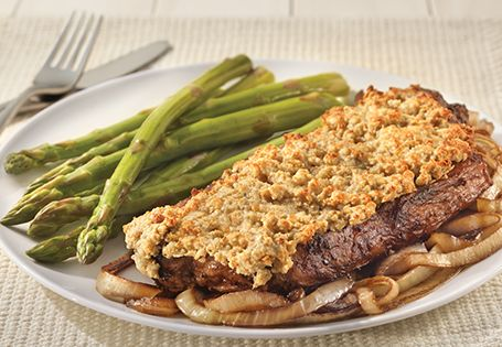 Steakhouse dinner at home: Blue Cheese Crusted Strip Steak is so tender and full of flavor.