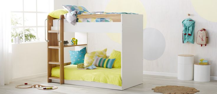 The Mercury, a modern, space-saving white and oak coloured teen bunk is a show and tell treat, featuring built-in shelves and a multi-purpose bottom that can function as a bed or a day bed.      Available in Single and King Single.