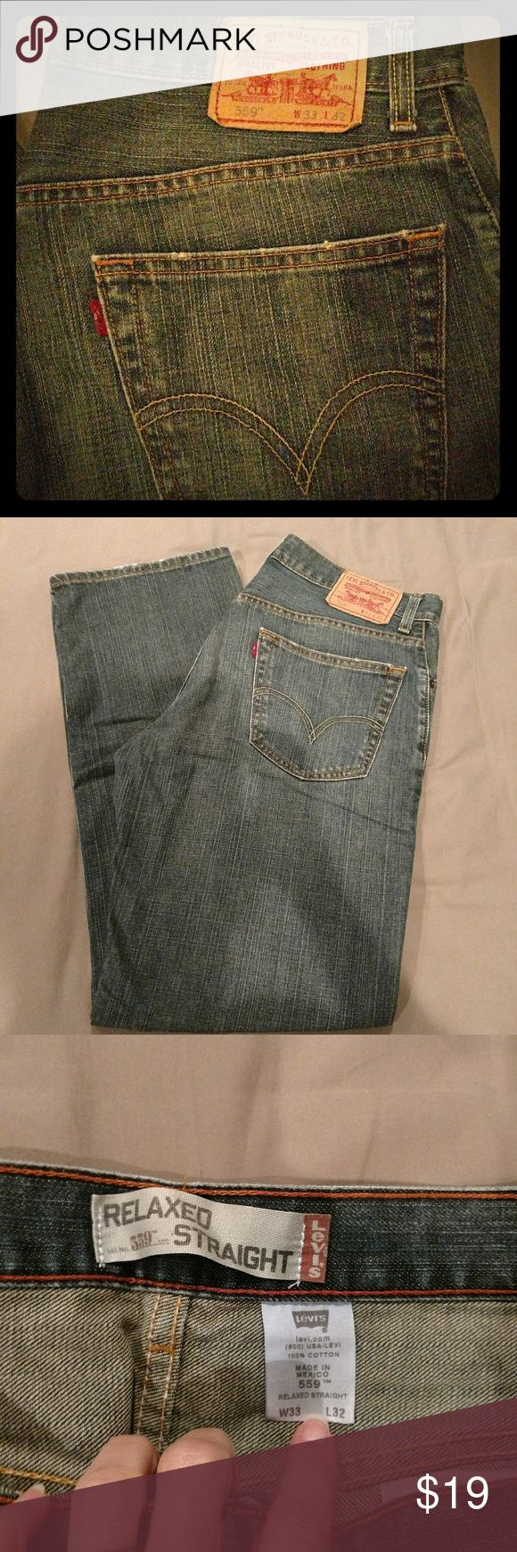 Levis 559 Ralaxed Straight 33/32 Men's Levi's 559 Relaxed Straight. I would say they are medium wash??  Excellent pre-loved condition. 33/32 Levi's Jeans Relaxed
