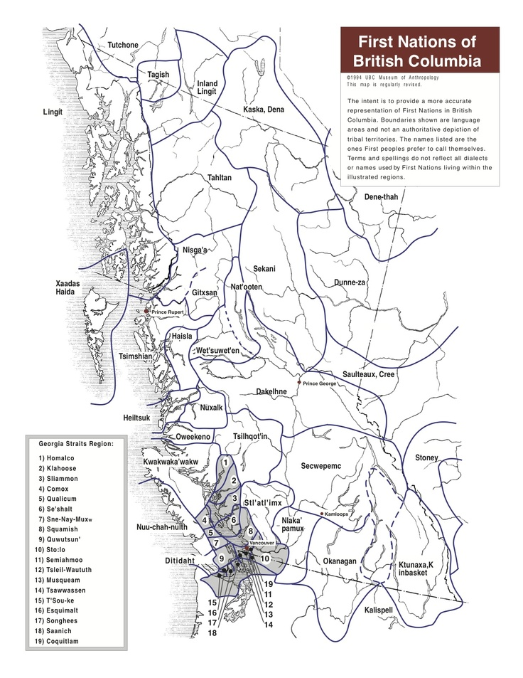Museum of Anthropology: First Nations map and First Nations Language map of BC blank outlines