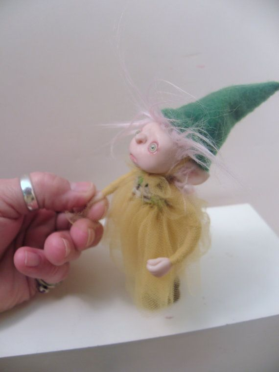 ooak polymer clay poseable baby Gnome by Dinkydarlings