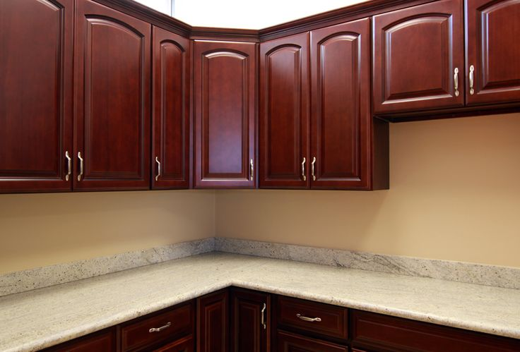 Cherry Cabinets With Quartz Countertops Cherry Oak Cabinets Kitchen Pin
