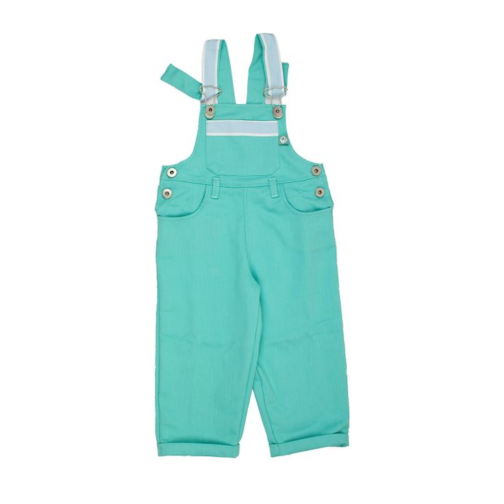 Turquoise Dungarees These dungarees are so cute and confortable. They look so well on boys and on girls. Stunning colour and very durable fabric. Fully lined. 100% cotton