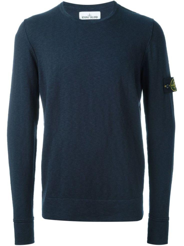 STONE ISLAND Blue Crew Neck Sweater. #stoneisland #cloth #knitwear