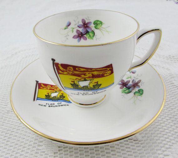 Duchess Flag of New Brunswick Tea Cup and Saucer, Souvenir Tea Cup, Bone China