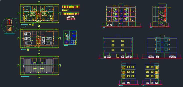 Projeto de edifício comercial elaborado no AutoCAD