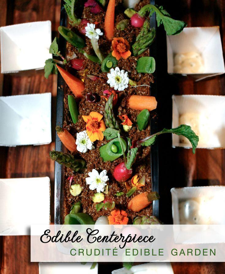 Edible Wedding Centerpieces : crudité edible garden with pumpernickel dirt   by Josh Tierney ... see more #springwedding tips at http://www.brendasweddingblog.com/blogs/2014/4/25/top-5-dcor-tips-for-spring-weddings-from-josh-tierney
