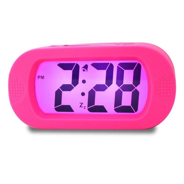 Girls Alarm Clock, Samshow Desk Clock, Travel Alarm Clock, Portable Clock, Simple Setting, Snooze Light, Shockproof, Large LED Screen, Progressively Louder Wake Alarm Clock, Battery Powered (Pink)