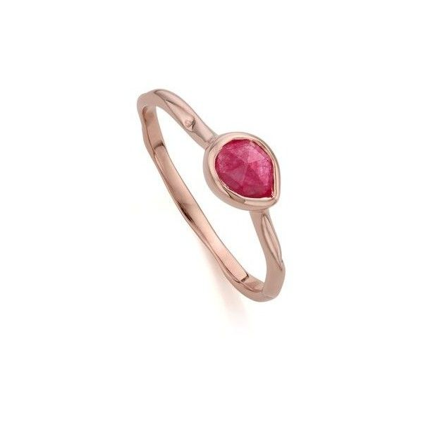Monica Vinader Rose Gold Vermeil Siren Small Stacking Ring - Pink... ($105) ❤ liked on Polyvore featuring jewelry, rings, pink jewelry, quartz ring, pink quartz jewelry, vermeil ring and rose jewelry