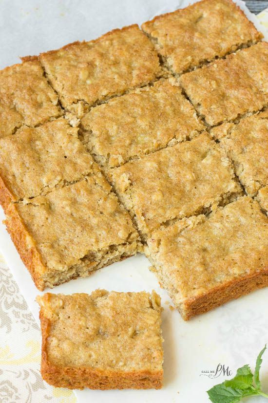 Homemade Peanut Butter Oatmeal Breakfast Blondies recipe are loaded with wholesome ingredients like peanut butter, oatmeal and bananas. This is a hearty, on-the-go breakfast bar recipe. #Oatober #ad