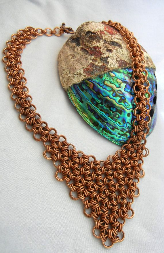 Chain Maille Necklace in Japanese 12 in 2 by DeepWatersJewelry #chainmaille