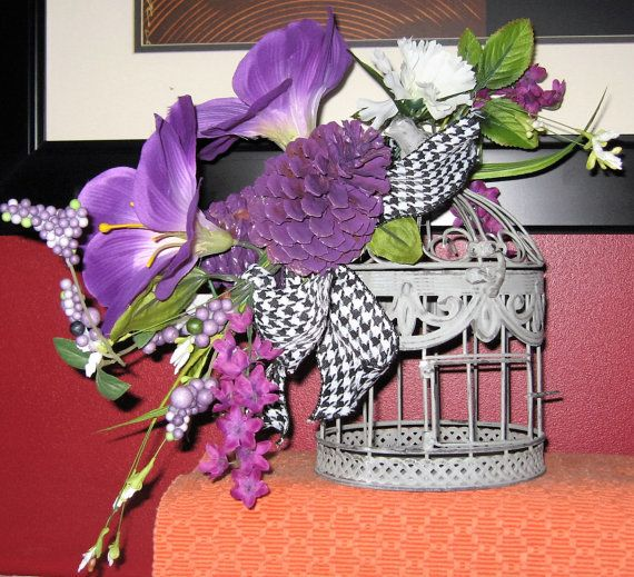Swag Purple Swag Pinecone Swag Birdcage Swag by SheMoonDesigns