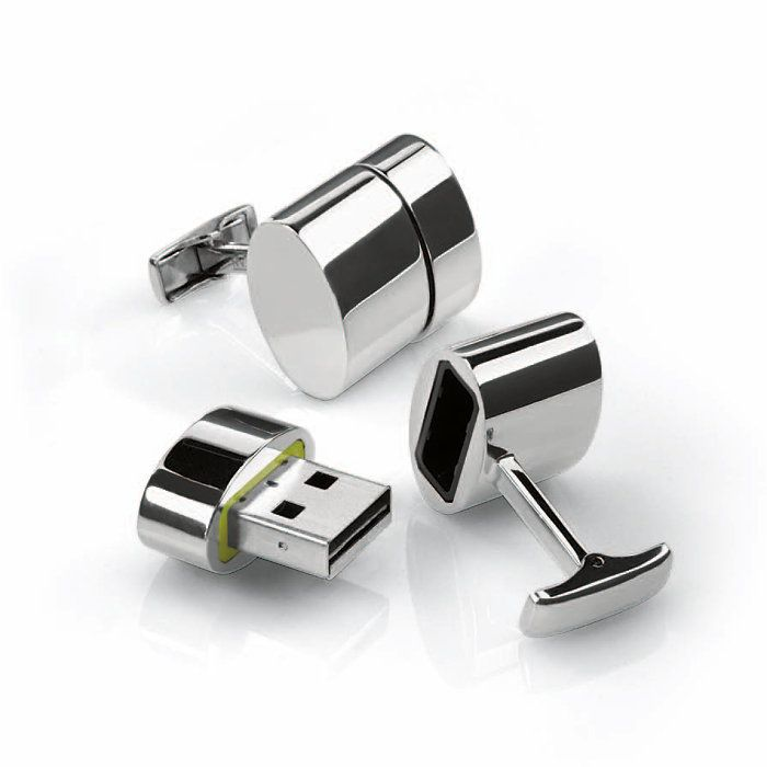 These polished silver cufflinks feature 2GB USB storage plus they provide a WiFi hotspot to multiple devices! You can also access media servers from the host computer. After downloading the accompanying software, pop the USB hotspot into your computer. The cufflinks turn into a high-speed WiFi hotspot! They connect smart phones, iPads or any other wireless device.