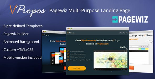 vPropos - Pagewiz Multi-Purpose Landing Page . vPropos is Multi-Purpose landing page with 6 pre-defined templates to choose from built in Pagewiz for easy edit using  drag/drop layout