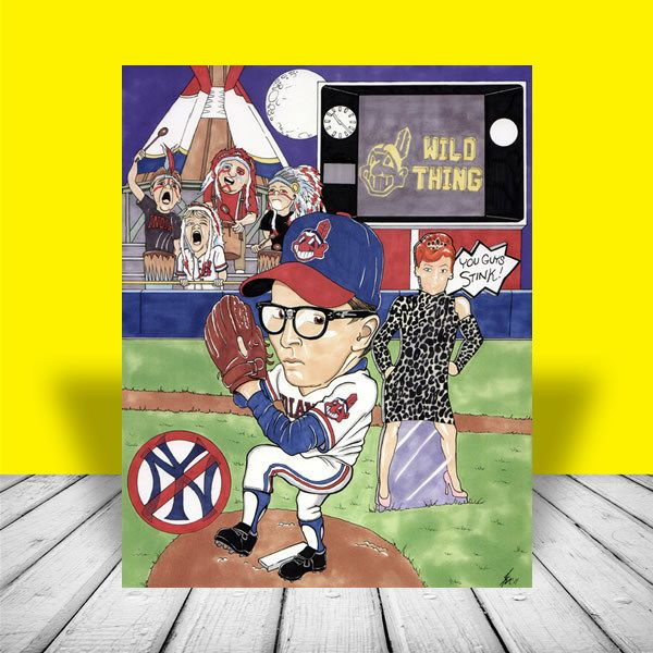 WILD THING in Cleveland Indians jersey POSTER ART, charlie sheen, baseball movie #ClevelandIndians