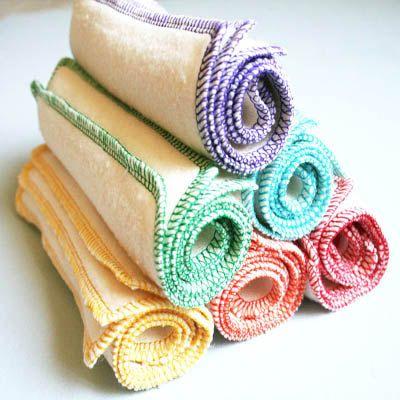 organic baby wipes, eco-friendly washcloths, cloth diaper wipes: hemp organic cotton fleece 6 pk Rainbow. $10.75, via Etsy.  #SproutWatchesEcoTrip