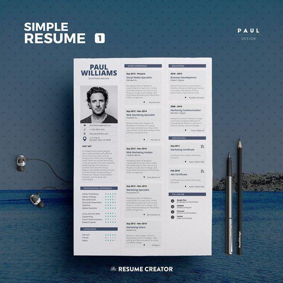#Simple #Resume Vol. 1  Word and Indesign by #TheResumeCreator @resumecreator