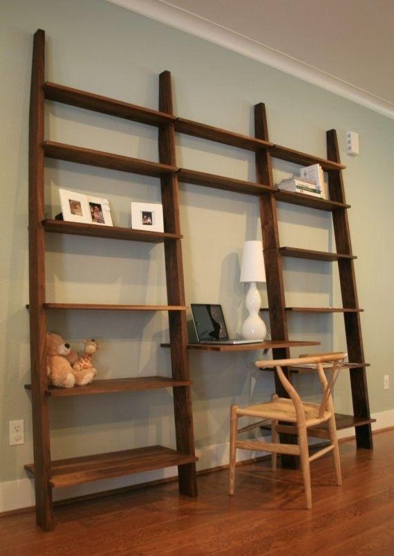leaning bookshelf with desk future home pinterest bookshelves ideas small spaces Built in Bookshelves