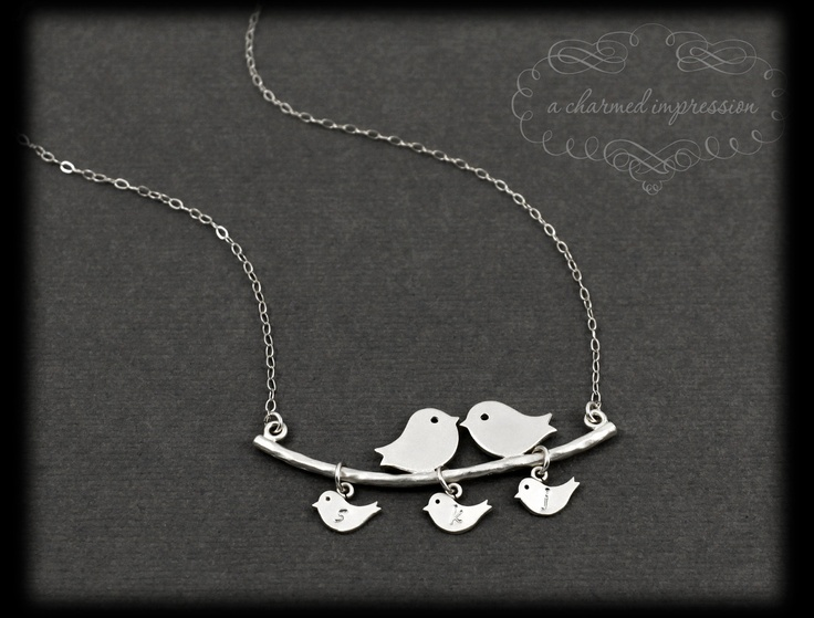 Personalized Mothers Necklace  3 Baby Birds by ACharmedImpression, $40.00