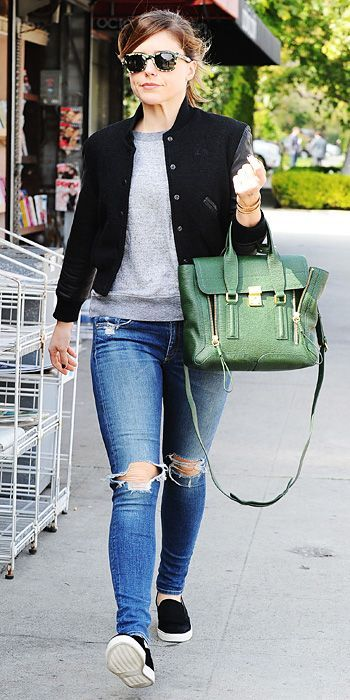 Sofia Bush, black jacket, black slip-ons, grey sweatshirt, green bag, jeans ☑️
