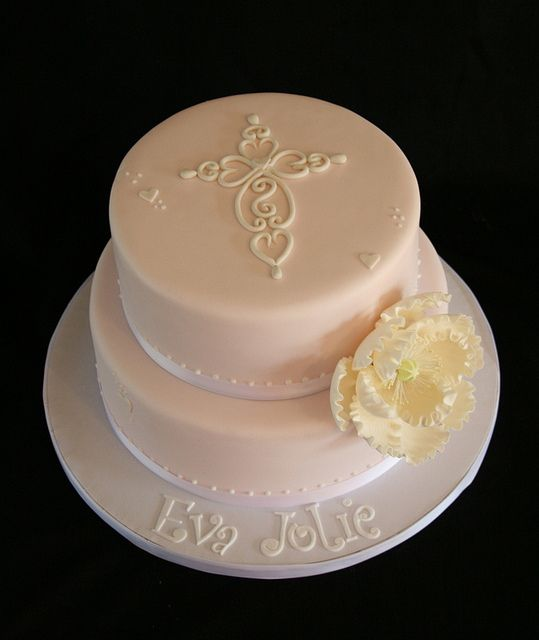 Pink and White Baptism Cake by Creative and Tasty Treats (Sandy) 305-218-8603, via Flickr