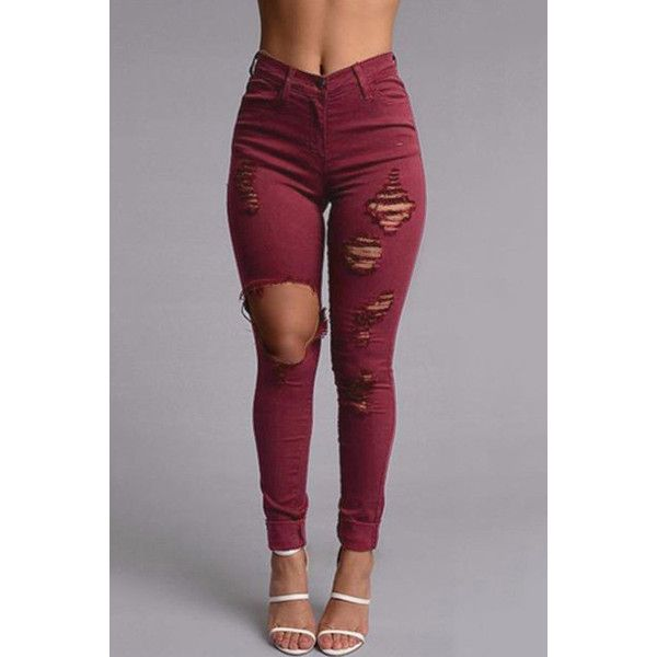 Yoins Burgundy Boyfriend Style High Waist Ripped Jeans ($25) ❤ liked on Polyvore featuring jeans, burgundy, distressed jeans, high waisted ripped boyfriend jeans, destructed boyfriend jeans, high waisted ripped jeans and ripped jeans