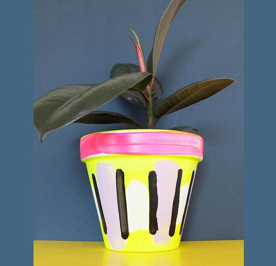 Indoor Small Planter Plant Pot Painted Terracotta Clay Pot I