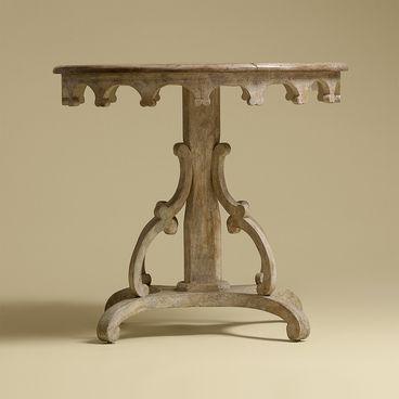 """Rose Tarlow """"Nantucket"""" Side Table ~  off-white chipped painted finish  Overall: 32"""" dia. x 29""""h"""