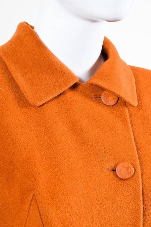 Vintage Hermes Burnt Orange Cashmere Flared Long Overcoat Size 36 4
