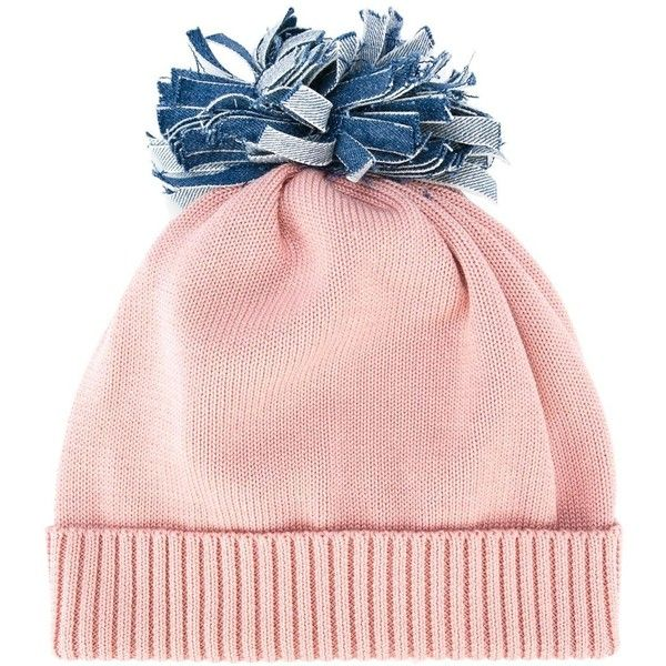 Federica Moretti 'Denim Pom Pom' beanie (1 970 UAH) ❤ liked on Polyvore featuring accessories, hats, beanie, pink, pompom hat, pom pom beanie, beanie hat, pom beanie and denim hats