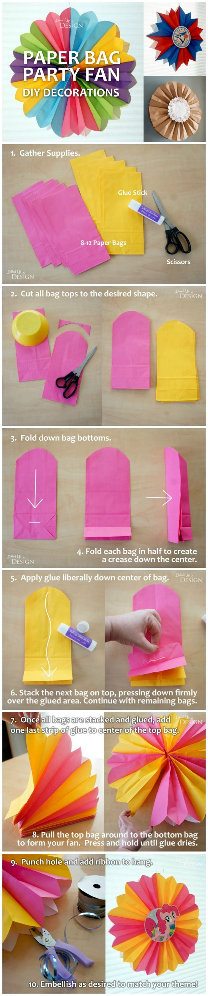 DIY Paper Bag Party Fans - these DIY party decorations are so clever!