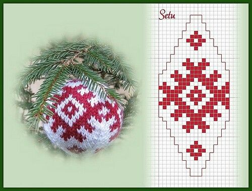 Knitted christmas balls pattern #knitted_balls