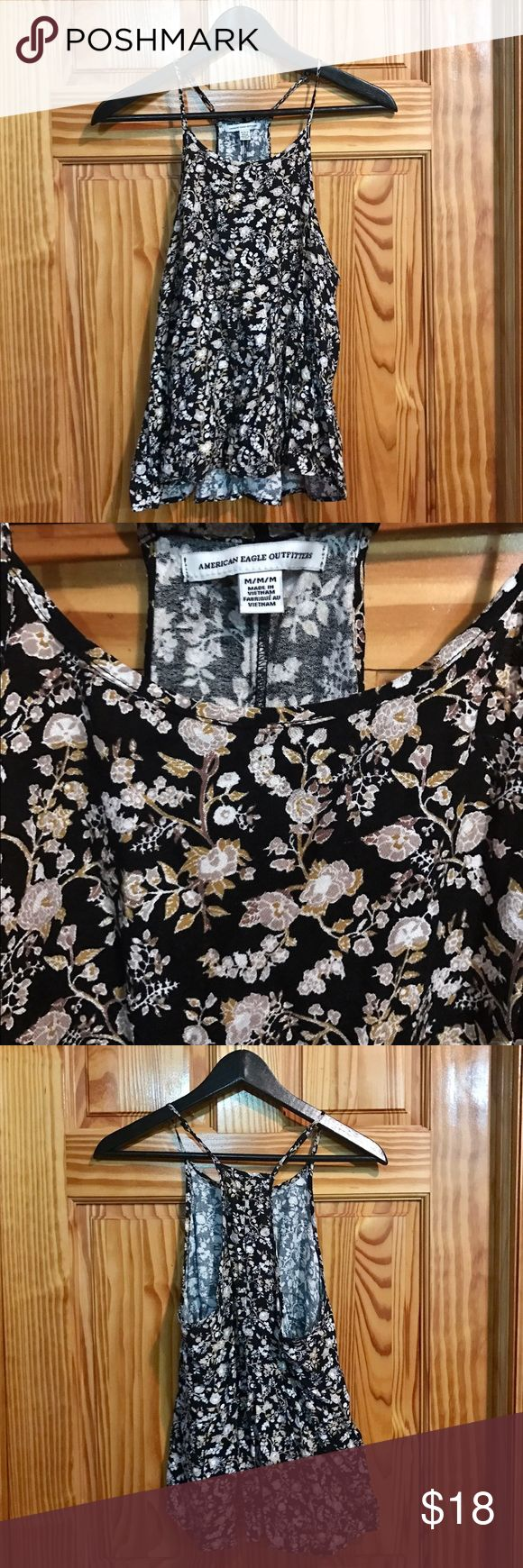 American Eagle Outfitters floral strappy top American Eagle Outfitters floral spaghetti strap flowy tank top, size medium, worn only once! American Eagle Outfitters Tops Tank Tops