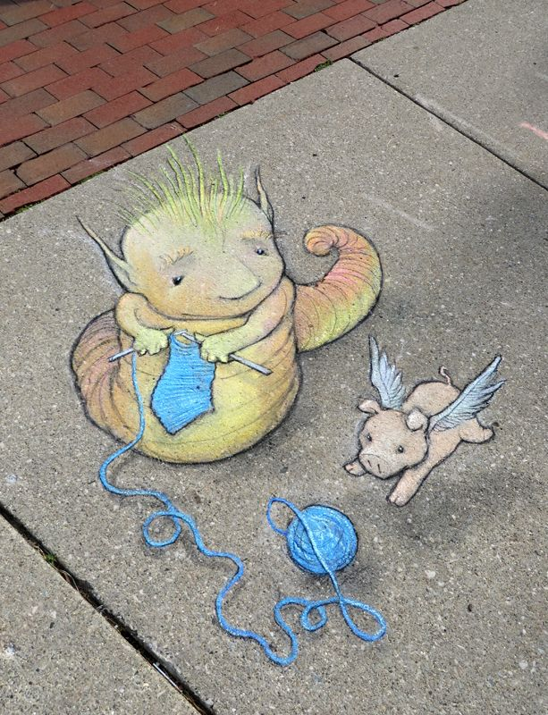 Yesterday, we learned that the knitting habits of the wooly silkworm encourage the feline tendencies of flying pigs. Ann Arbor Summer Festival: Top of the Park (June 27, 2014) - street art by David Zinn
