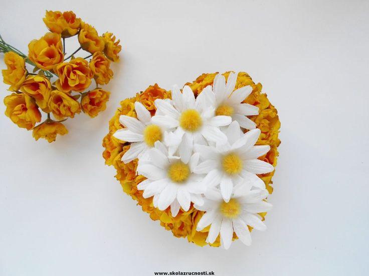 polystyrén srdce margaréty styro heart flower Mother´s Day
