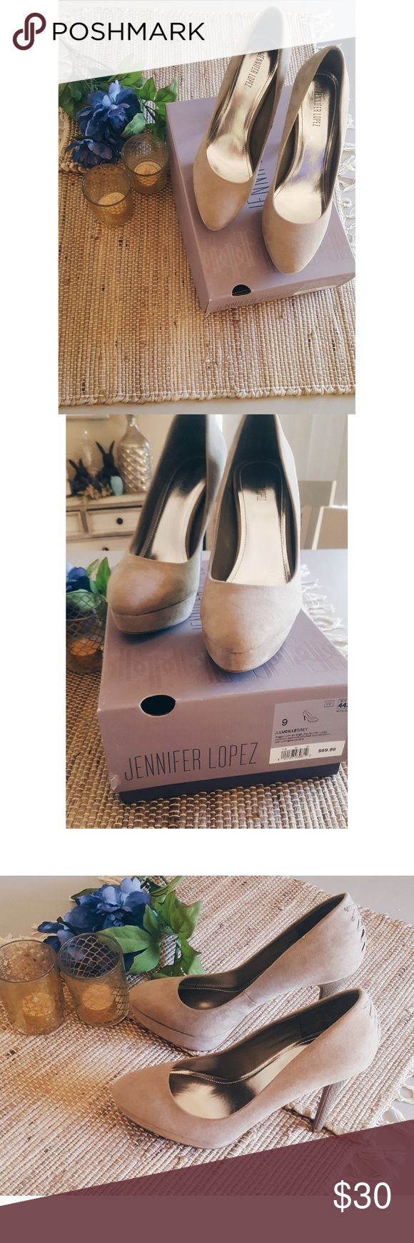 "NWB! Jennifer Lopez Heels New with Box, never been worn outside. Color listed as ""Lucille Grey"", very neutral and would match so many outfits. Love the corset detail on the back. 👠 Size-9. Heel Height- 4.5"". Platform Height-1"". Jennifer Lopez Shoes Heels"