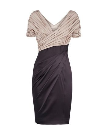 Inexpensive Sheath Pleated Short Sleeves V-Neck Short Mother of the Bride, Groom Dresses - US$ 134.99 | BuyBuyStyle.com