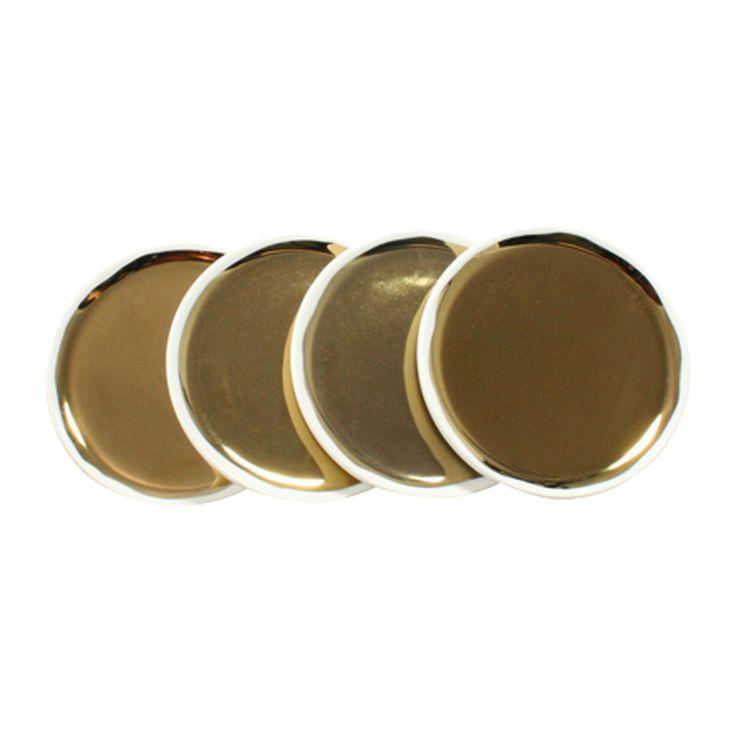 Go for the Gold Glazed Plates - Set of 4   dotandbo.com